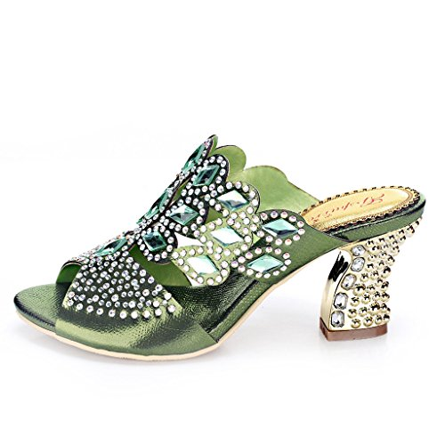 Evening Dress T018 Fashion gs Doris Rhinestones Women's Sandals Heels Wedding Green Glitter YxwFEdzndq