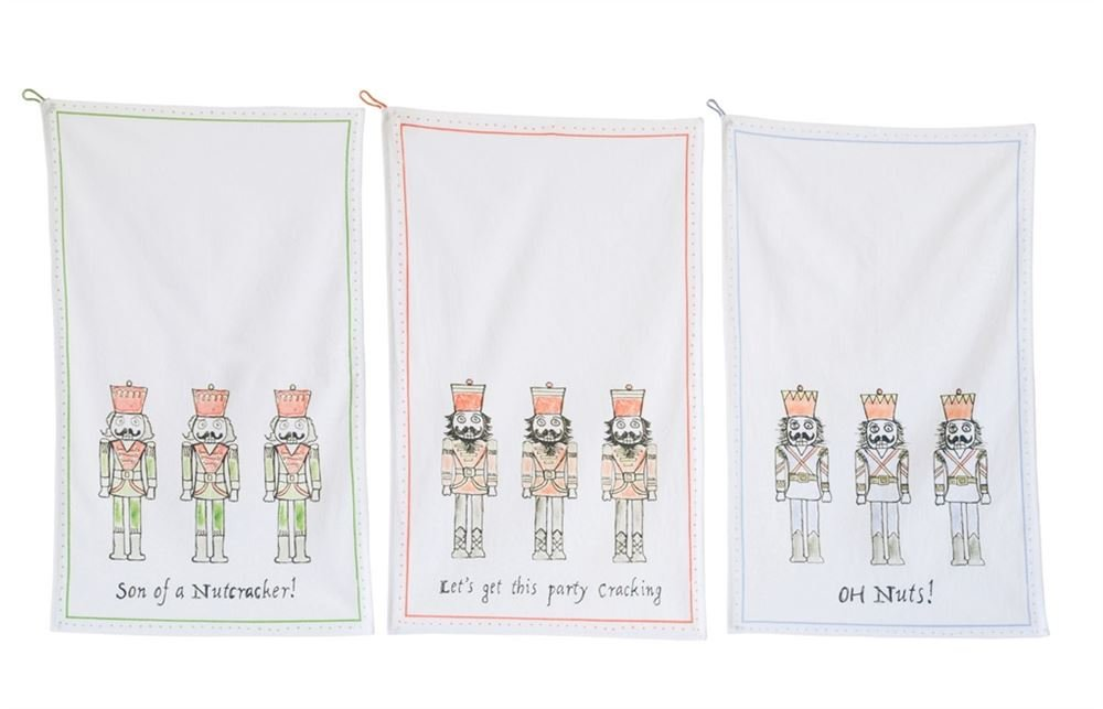 Heart of America 3 Assorted Nutcracker Sayings Cotton Tea Towels - 12 Pieces