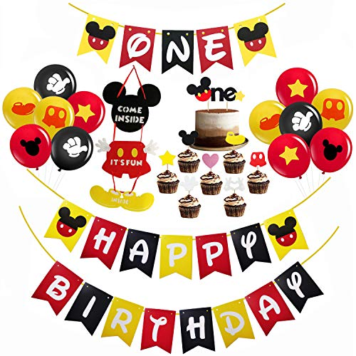 Mickey Mouse 1st Birthday Decorations (Mickey Mouse First Birthday Decorations Set, Mickey Mouse Happy Birthday Banner, Mickey Mouse One Banner, Mickey Mouse One Cake Topper, Baby Gilr Boy Mickey Mouse Theme 1st Birthday Party Supplies)