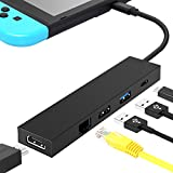 Nintendo Switch Dock, HDMI Type C Hub Adapter, 5-in-1 Hub HDMI Converter Dock Cable for Nintendo Switch, Replacement Docking Station with Ethernet Port