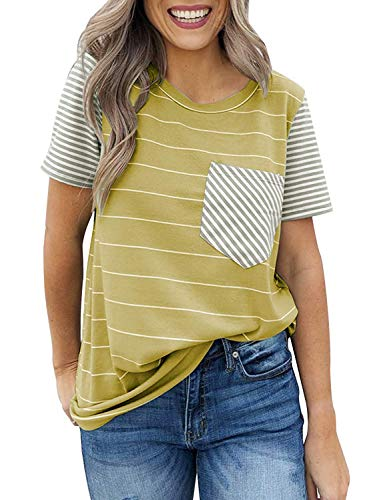 - CANIKAT Women's Summer Striped Short Sleeve Crewneck Blouses Contrast Color Casual T-Shirt Tops with Pocket Yellow S