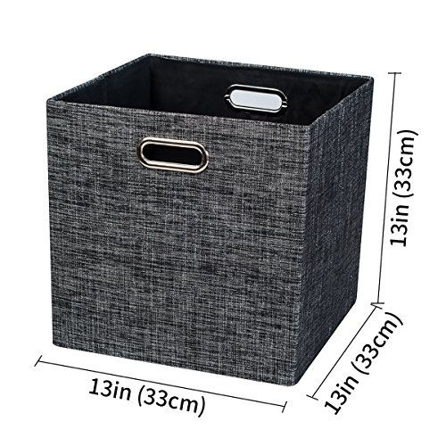 Posprica Large Storage Cube Basket Bins,Foldable Storage Boxes Closet Organizer for Shelf Cabinet Bookcase,Thick Fabric Drawer Container -13''×13'', 2pcs,black