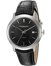 Men's 'Maestro' Swiss Automatic Stainless Steel and Leather Casual Watch, Color:Black (Model: 2237-STC-20001)