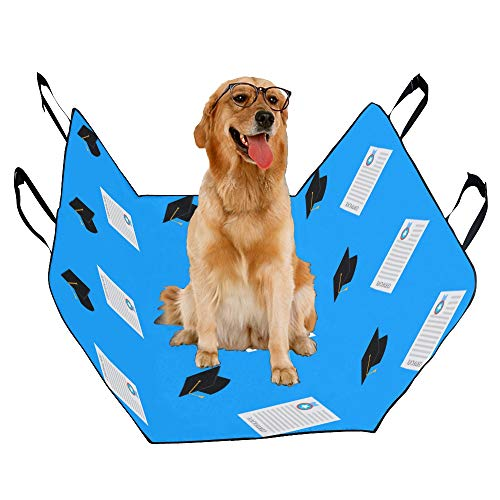 JTMOVING Fashion Oxford Pet Car Seat Bachelor Hat Student Culture Cute Waterproof Nonslip Canine Pet Dog Bed Hammock Convertible for Cars Trucks SUV