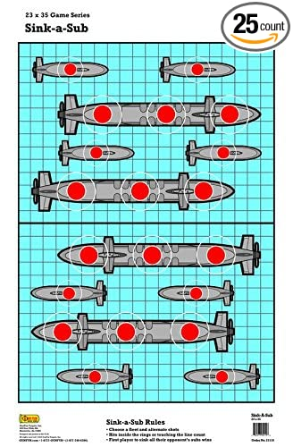 image relating to Printable Shooting Targets 11x17 titled 25 Sink-A-Sub Battleship Paper Capturing Concentration 23\