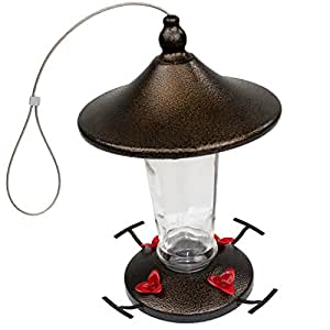 WildBird Care Hummingbird Feeder BTF04, 13 ounce, Copper and Glass with 4 Feeding Stations