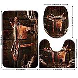 3 Piece Bathroom Mat Set,Western,American West Traditional Authentic Style Rodeo Cowboy Saddle Wood Ranch Barn Image,Dark Brown,Bath Mat,Bathroom Carpet Rug,Non-Slip
