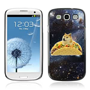CaseCaptain Carcasa Funda Case - Samsung Galaxy S3 III i9300 / Funny Taco Dog In Space /
