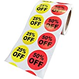 25% 50% Percent Off Stickers:   Brighter, more vibrant colors catch customer's attention.Make it more easy to sell your items.Perfect for businesses, retail stores, garage sale or markets etc.Easily removable so it won't harm clothing material or ...