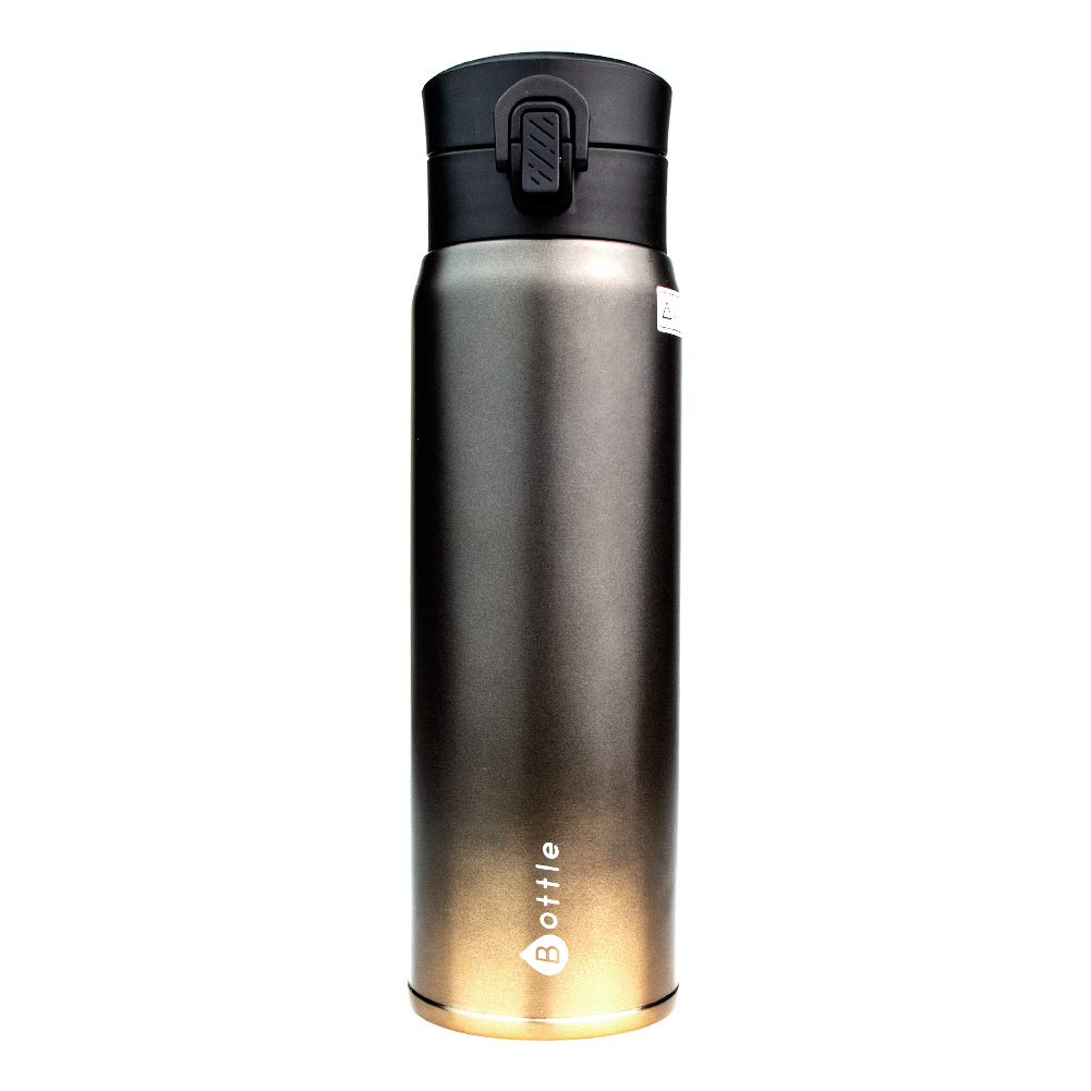 Mug Isotherme Bouteille Isotherme INOX 450ml - Travel Mug Tasse Isotherme Café ou Thé - Double Paroi en Acier Inoxydable - avec Étanches Serrures Technologiques (Noir)
