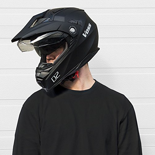 Voss 601 D2 Dual Sport Helmet with Integrated Sun Lens and Ratchet Quick Release System - Large - Matte Black by Voss Helmets (Image #4)