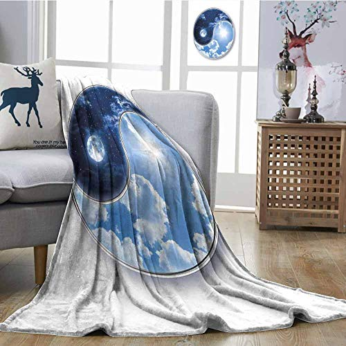 (SONGDAYONE Reversible Blanket Yin Yang World with Moon and Sun Harmony of The Universe Art Anti-Static Throw W54 xL84 Navy Blue Sky Blue White)