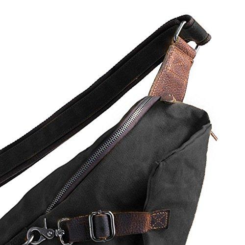 Retro Crossbody Handbags Black Packs Chest Canvas Widewing Men Casual Shoulder Waterproof 1xwZxq7p