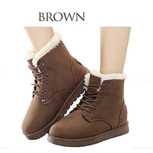 no Women Snow Boots, 2017 Women Winter Warm Lace up Cotton Snow Ankle Boots Flat Platform Sneaker Shoes Brown
