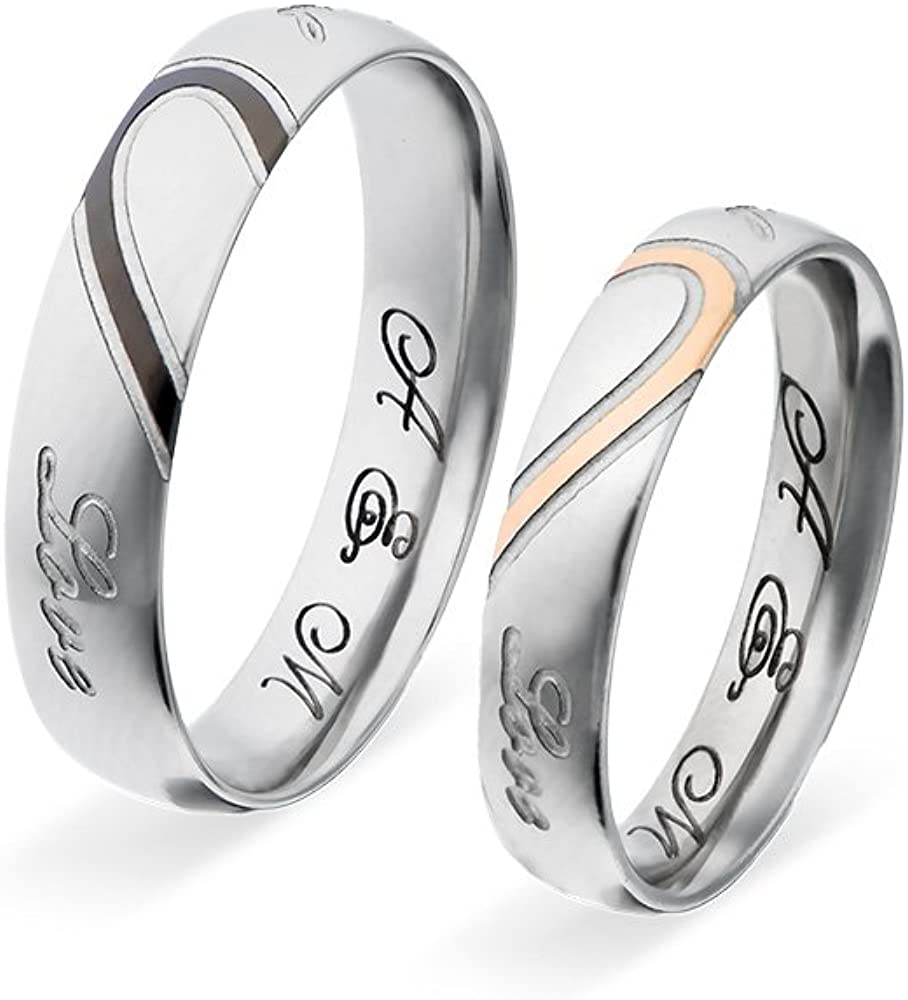 Personalized Custom Couple Ring Jewelry Set Stainless Steel Valentines Day Gifts