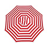 Le Papillon 7 ft Outdoor Patio Beach Umbrella Sun Shelter with Sand Anchor, Red and White Stripe