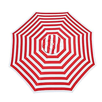 "Le Papillon 7 ft Outdoor Patio Beach Umbrella Sun Shelter with Sand Anchor, Red and White Stripe - Air-vented 7ft dia. canopy designed to facilitate air flow for more stability. The canopy structure is supported by 8 fiberglass ribs 180D polyester fabric, 1.1"" dia. rust-free powder coated steel upper pole, 1.38"" dia. rust-free powder coated steel lower pole, 0.24"" dia. fiberglass rib Telescoping steel pole with tilt option, allowing for easy adjusting to the moving sun - shades-parasols, patio-furniture, patio - 51cQqXQ9T0L. SS400  -"
