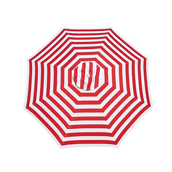 """Le Papillon 7 ft Outdoor Patio Beach Umbrella Sun Shelter with Sand Anchor, Red and White Stripe - Air-vented 7ft dia. canopy designed to facilitate air flow for more stability. The canopy structure is supported by 8 fiberglass ribs 180D polyester fabric, 1.1"""" dia. rust-free powder coated steel upper pole, 1.38"""" dia. rust-free powder coated steel lower pole, 0.24"""" dia. fiberglass rib Telescoping steel pole with tilt option, allowing for easy adjusting to the moving sun - shades-parasols, patio-furniture, patio - 51cQqXQ9T0L. SS570  -"""