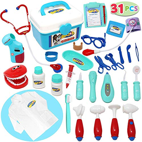 JOYIN Kids Doctor Kit 31 Pieces Pretend-n-Play Dentist Medical Kit with Electronic Stethoscope and Coat for Kids Holiday Gifts, School Classroom and Doctor Roleplay Costume Dress-Up. -