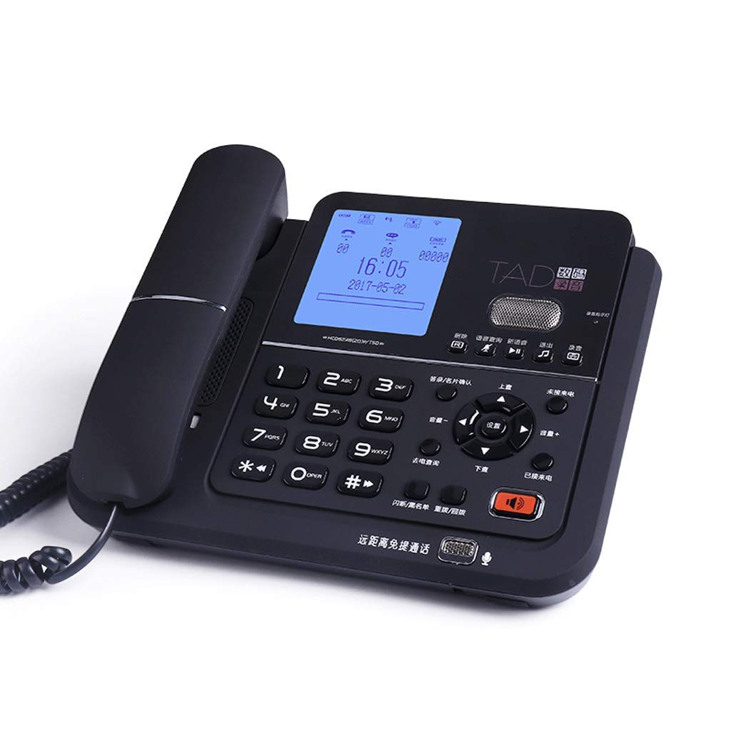 Old-Fashioned Telephone Cordless Fixed Digital Office Home Wireless Landline (Color : Black) by CQH