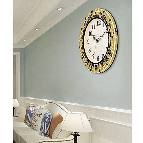 ウォールクロック ファッション、クリエイティブ、サイレントクロック、アメリカンモダンミニマリストリビングルーム時計 (色 : E) B07D7RXKDVE