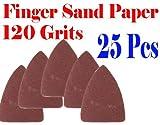 Pack 25 Sandpaper 120 Grits Sand Paper Finger Detail w/ Oscillating Multi Tool Saw Blades for Fein Multimaster Bosch Multi-x Craftsman Nextec Dremel Multi-max Ridgid Dremel Chicago