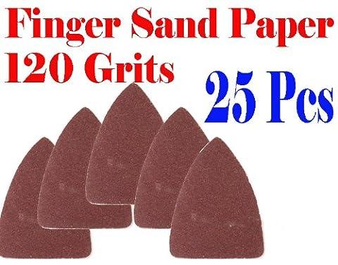 Pack 25 Sandpaper 120 Grits Sand Paper Finger Detail w/ Oscillating Multi Tool Saw Blades for Fein Multimaster Bosch Multi-x Craftsman Nextec Dremel Multi-max Ridgid Dremel (Bosch Multi Sander)