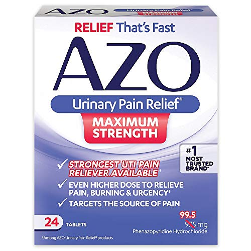 Infection Relief - AZO Urinary Pain Relief Maximum Strength | Fast relief of UTI Pain, Burning & Urgency | Targets Source of Pain | #1 Most Trusted Brand | 24 Tablets