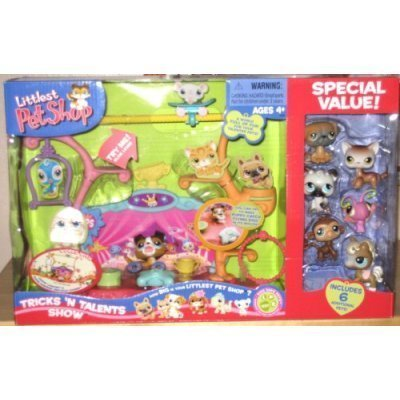 Littlest Pet Shop Tricks N Talents Show With 7 pets (2 Dogs, 2 cats, butterfly, monkey and pony)
