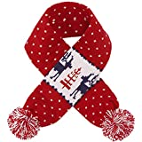 Blueberry Pet Vintage Ugly Christmas Reindeer Holiday Festive Dog Scarf in Tango Red & Navy Blue, Large