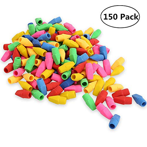SyTck Fux Pencil Top Erasers Wedge Shaped Pencil Erasers Assorted Color Cap Eraser in Bulk Pack of 150