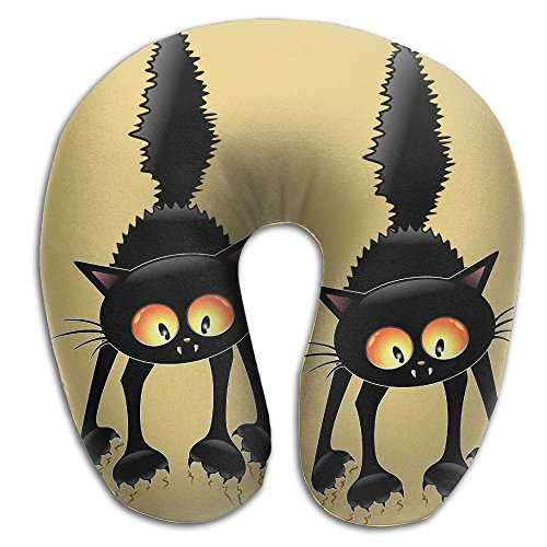 DMN U-Shaped Neck Pillow Halloween Black Cat Pillows Soft Convertible Portable Multifunctional For Travel Reading And Sleeping -