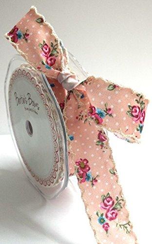 Nastro con motivo a pois e fiori colore: Rosa Berties Bows spessore 25 mm bordo in pizzo avorio da tagliare sul rocchetto
