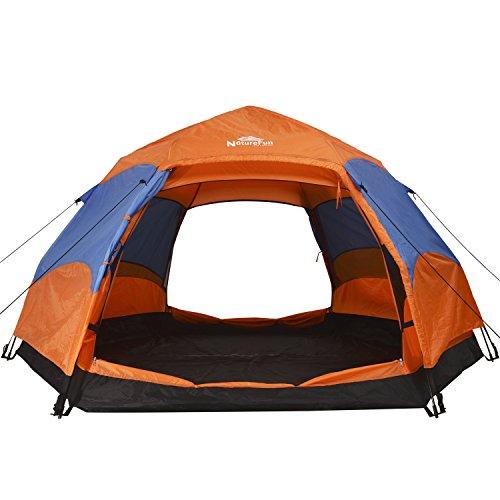 NatureFun 3-4 Personen Wasserdichtes Camping Trekking automatisches Familien Springzelt, 2 Türen, 4 Jahreszeiten, 260*140*240cm(L*H*T)