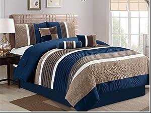 JBFF 7 Piece, Collection Bed in Bag Luxury Stripe Microfiber Comforter Set, Queen, Navy