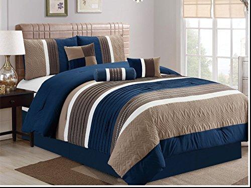 JBFF 7 Piece, Collection Bed in Bag Luxury Stripe Microfiber Comforter Set, Cal King, Navy