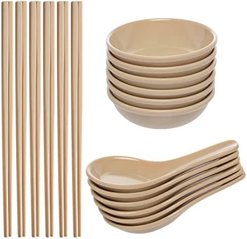 Zak! (24 Piece) Asian Reusable BPA-Free Plastic Utensils Set With Chopsticks, Soup Spoons For Wonton Pho & Ramen, & Small Bowl Dishes For Dipping Sauces Like Soy & Wasabi