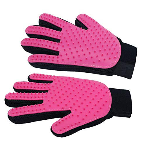 Pet Grooming Gloves Mitts, Pet Deshedding Tool Cat Brushing Glove Hair Removal Pet Gloves Massage Brush for Long & Short Hair Dogs Cats Bunnies Come with Free Pet Hair Lint Remover Roller(Rose Red) ()