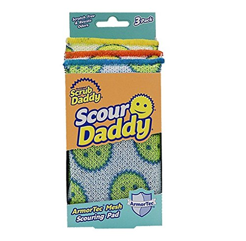 Scrub Daddy, Scour Daddy -Multisurface Scouring Pad, Absorbent, Durable, FlexTexture Sponge, Soft in Warm Water, Firm in Cold, Scratch Free, Odor Resistant, Easy to Clean 3ct (Pack of 2)