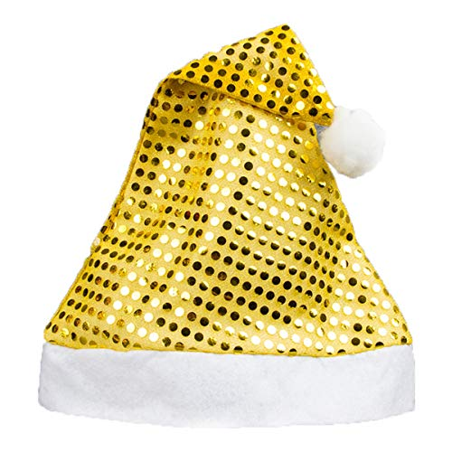 (SUNFURA Women's Sequin Santa Hat Adult Christmas Hat Party Sparkle Headwear,)