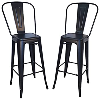 Image of Barstools Carolina Chair & Table Monaco 30-Inch Bar Set of 2 Stool, Black