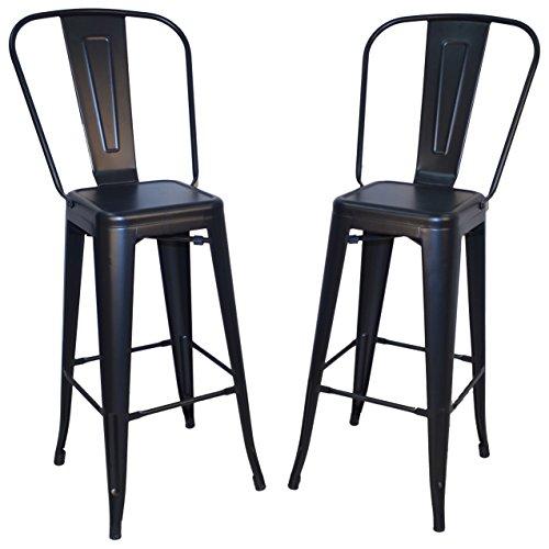 Carolina Chair & Table 1TH-1001-30F BLK Monaco 30-Inch Bar Set of 2 Stool, Black