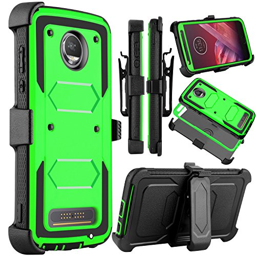Moto Z2 Force Case, Moto Z2 Play Case, Venoro Heavy Duty Shockproof Full Body Protection Rugged Hybrid Case Cover with Swivel Belt Clip and Kickstand for Motorola Z Force 2017 (Green)