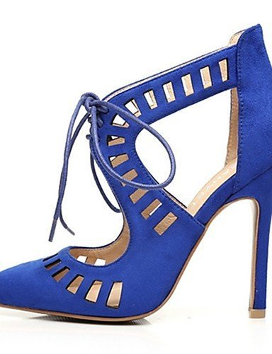 Blue Stiletto Sandals amp; Black Pointed Heel Evening Casual Heels Blue Women's Party Shoes Almond Dress Suede Toe ShangYi 4Zg8w