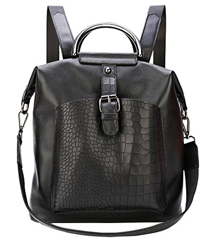 Fiswiss Women's Genuine Leather Fashion Backpack Shoulder Handbags Everyday Purse (Black) by Fiswiss
