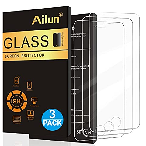 [3 Packs]iPhone 5S Screen Protector,iPhone SE Screen Protector,by Ailun,2.5D Edge Tempered Glass for iPhone 5/5S/5C/SE,Anti-Scratch,Case Friendly-Siania Retail (Iphone 3 Protector)