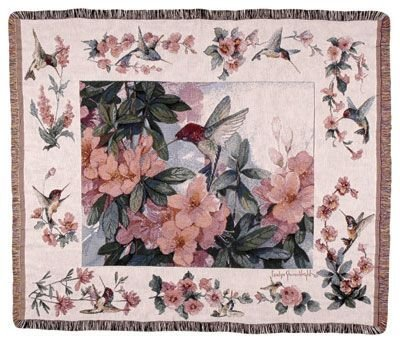 (Simply Home Hummingbird Garden Mid-Size Deluxe Tapestry Throw Blanket USA Made SKU TPM780)