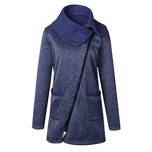 Giacca Blu Pullover Elegante Collo Alto Grigio Giubbotto Sweatshirt Obliquo Outerwear Felpa Inverno Con Lunga Donna Manica Casual Cerniera Autunno Moda Cappuccio AXWwYRH0