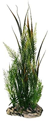 """Rock Garden 12"""" Natural Green Plant with Decorative Resin Base by Pet Partners dba North American Pet"""