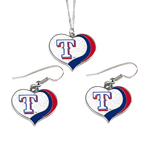 aminco Texas Rangers MLB Sports Team Logo Charm Gift Glitter Heart Necklace and Earring Set